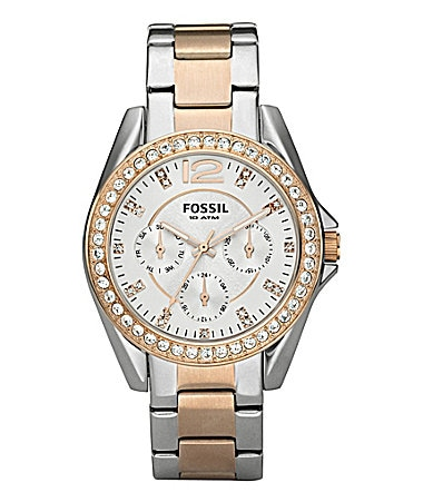 Fossil Riley Two-Tone Rose Gold Multifunction Watch
