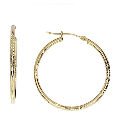 Dillard�s Gold Collection Textured Hoop Earrings