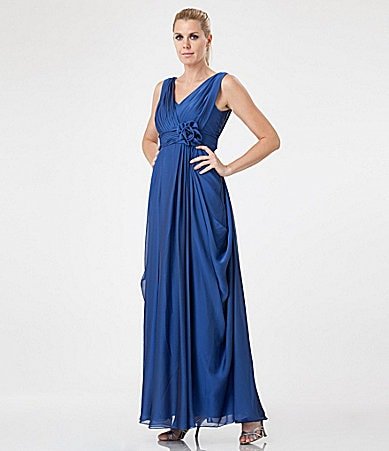 JS Collections Draped Chiffon Gown