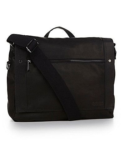Kenneth Cole Reaction Black Leather Flapover Messenger Bag