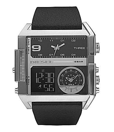 Diesel Black Leather-Strap Dual-Dial Watch