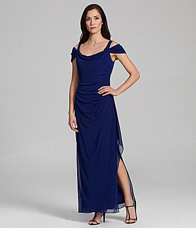 Alex Evenings Cold-Shoulder Mesh Gown
