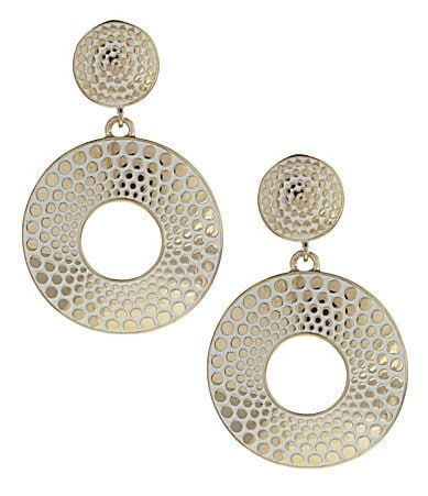 Dillards Tailored Textured-Dots Clip-On Earrings