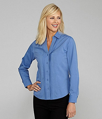 Investments Tuck-Front Y-Neck Blouse
