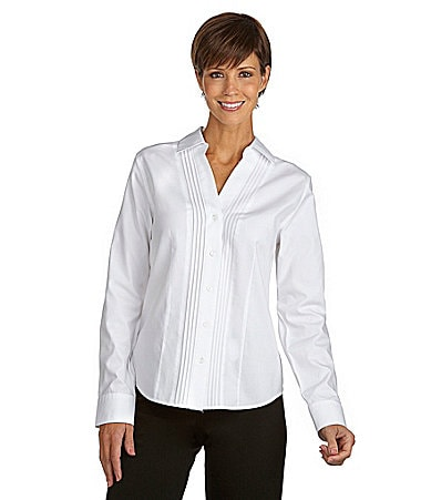 Investments Petites Tuck-Front Y-Neck Blouse