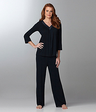 Midnight by Carole Hochman Day In Day Out 3/4 Sleeve Pajamas