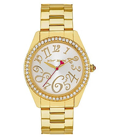 Betsey Johnson Gold Bling Bling Time Boyfriend Watch