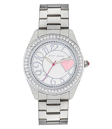 Betsey Johnson Silver Bling Bling Time Heart Boyfriend Watch