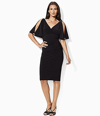 Lauren Ralph Lauren Slit-Sleeve Matte Jersey Dress