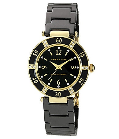 AK Anne Klein Black and Crystal Watch