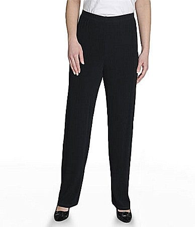 TanJay Petites Ribbed Straight-Leg Pants