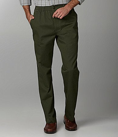 Roundtree & Yorke Flat Front Easy-Care Full Elastic Pants