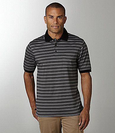 Roundtree & Yorke Stripe Jersey-Knit Pocket Polo Shirt