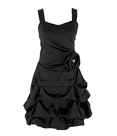 Ruby Rox 7-16 Flower-Detail Satin Pickup Dress