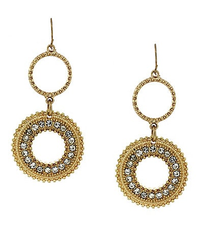 Jessica Simpson Double Disk Drop Earrings