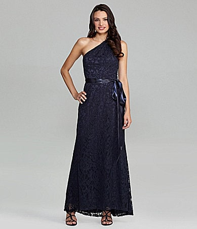 Betsy & Adam One-Shoulder Lace Gown