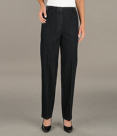 Allison Daley Petites Mock-Fly Pull-On Denim Pants
