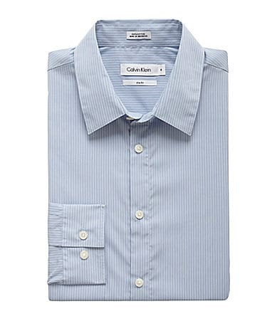 Calvin Klein Slim-Fit Mini-Stripe Poplin Sportshirt