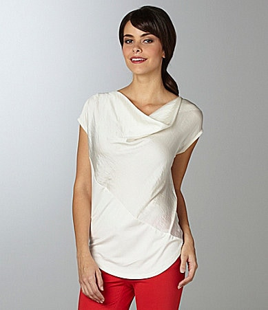 Vince Camuto Cap-Sleeve Mixed-Media Blouse