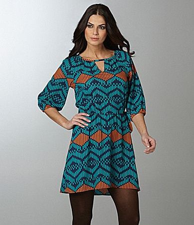 Collective Concepts Tribal-Print Keyhole Dress