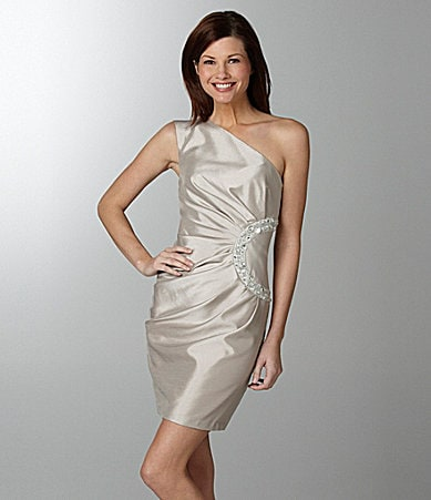 London Times One-Shoulder Dress
