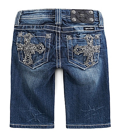 Miss Me Girls 7-16 Rose Cross Bermuda Shorts