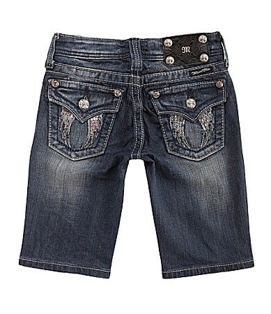 Miss Me Girls 7-14 Angel Wing Pocket Denim Bermuda Shorts