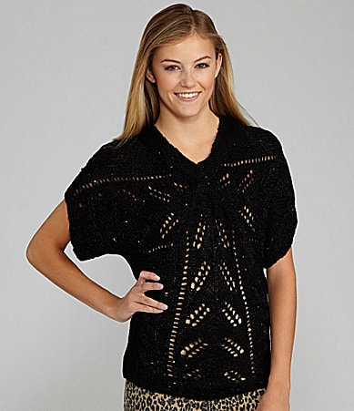 GB Dolman-Sleeve Sequin Sweater