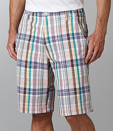 Roundtree & Yorke Casuals Washed Plaid Flat Front Shorts