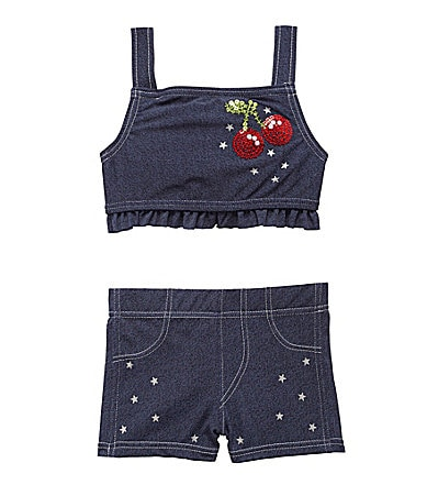 Flapdoodles 2T-6X Denim Cherry 2-Piece Swimsuit