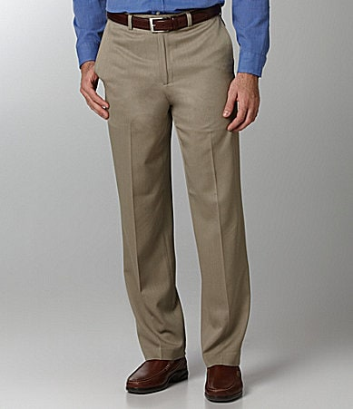 Roundtree & Yorke Solid Flat Front Expandable Dress Pants