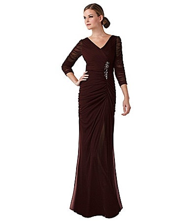 Adrianna Papell Woman Sheer-Sleeve Embellished Gown
