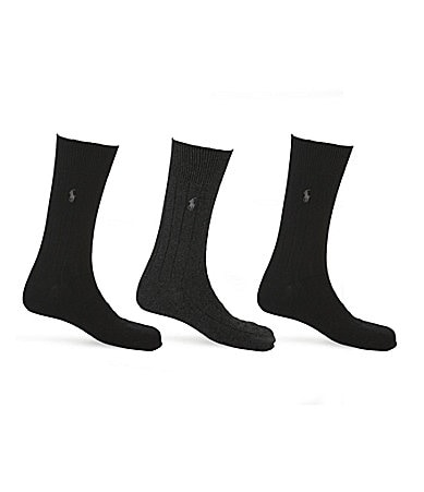 Polo Ralph Lauren Big & Tall Combed Cotton Dress Socks 3-Pack