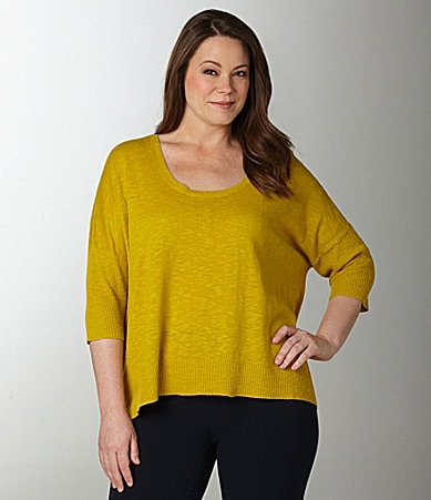 Eileen Fisher Woman Scoopneck Box Top