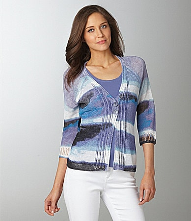 ZoZo Painted Stripe Print Cardigan