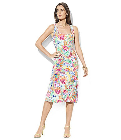 Lauren Ralph Lauren Khaz Stretch Paisley Tank Dress