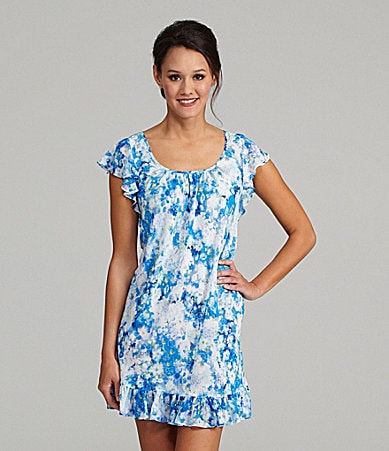 Oscar de la Renta Seaside Morning Floral Chemise