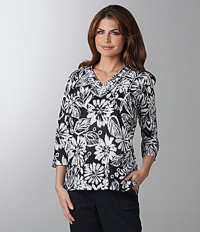 Samantha Grey Etched Flower Tunic