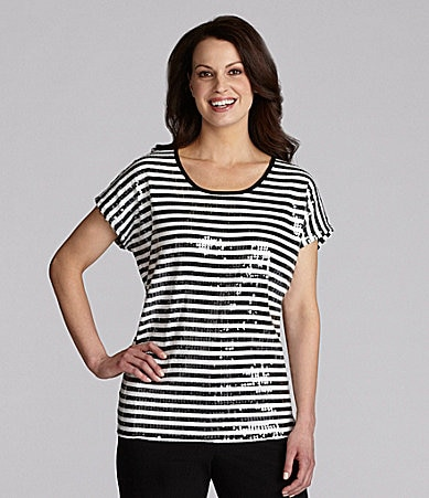 Ruby Rd. Petites Striped Sequin Top
