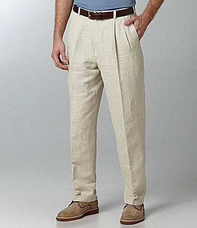 Caribbean Linen Pleated Expander Pants