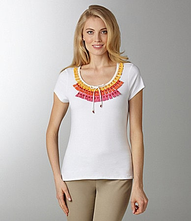 Ruby Rd. Woman Embellished Jersey Top
