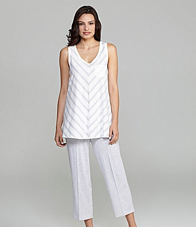 AK Anne Klein Stripe Hype Sleeveless Crop Pajamas