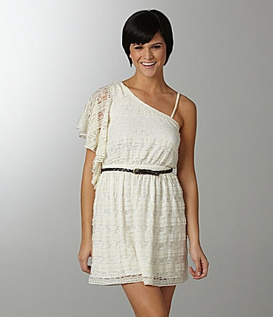 Sequin Hearts Belted Lace Dress