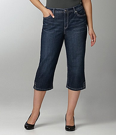 Code Bleu Woman Annette Starburst Denim Capri Pants