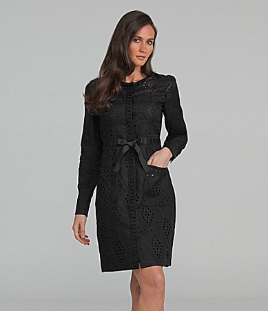 Elie Tahari Jennifer Open-Weave Long-Sleeve Dress
