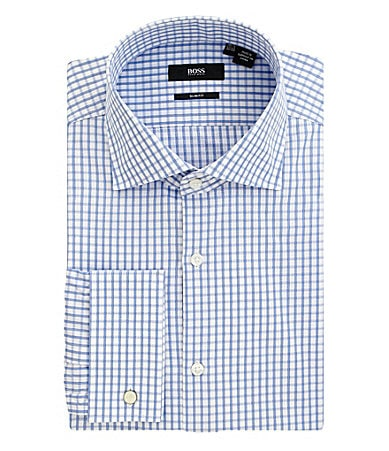 Hugo Boss Non-Iron Checked Spread-Collar Dress Shirt