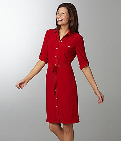 Tahari by ASL Matte Jersey Shirtdress