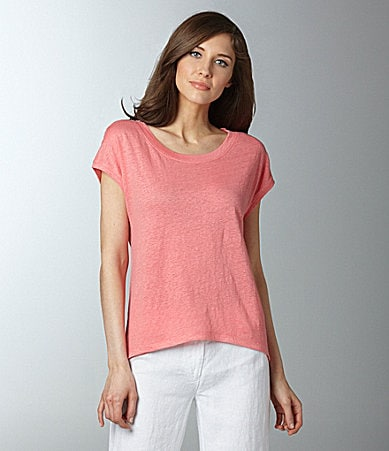 Eileen Fisher Wide-Neck Linen-Jersey Top
