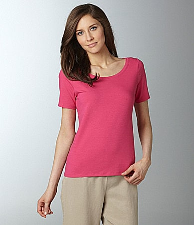 Eileen Fisher Petites Organic-Cotton Scoopneck Tee