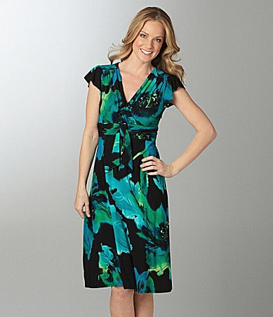 Evan Picone Floral-Print Matte Jersey Dress